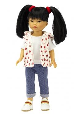 Bambola Umi, Vestita in Blu - Jeans e gilet stampa rosso - 28 cm