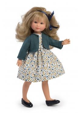 Celia Vestido Flores Con Chaqueta Azul 30 cm