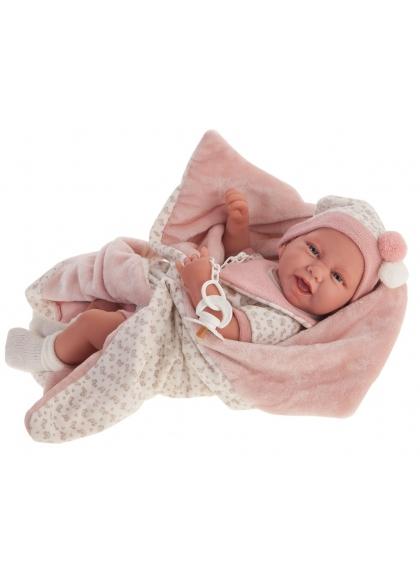 Recien Nacida Carla Mantita Rosa 40 cm - Diversal.es - Tienda de muñecas, juguetes y disfraces