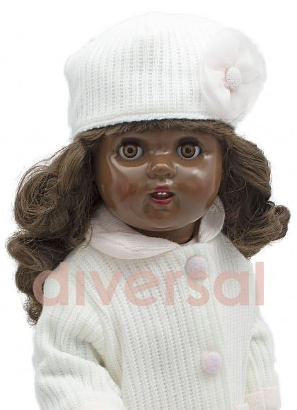 Mariquita Perez Con Set Cappotto In Maglia Bianca