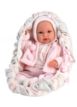 Bébé avec porte-bébé rose 36 Cm