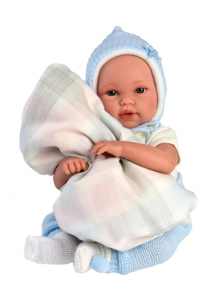 Baby With Blue Baby Carrier 36 Cm Crying Newborn Llorens Dolls 63641