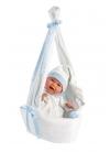 Mime Smiles Blue Stork Carrycot 42 Cm Newborn Llorens Dolls that cry 74005