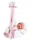 Mimi Smiles Pink Stork Carrycot 42 Cm Crying Newborn Llorens Dolls 74006