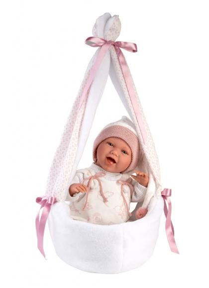 Mimi Smiles Pink Stork Carrycot 42 Cm