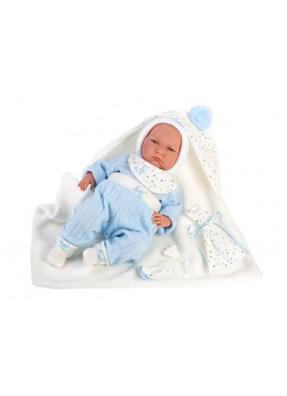 Lalo Lloron White Cape 42 Cm Newborn Llorens Dolls that cry 74091