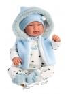 Tino Blue Romper With Hood 44 Cm Newborn Llorens Dolls that cry 84439