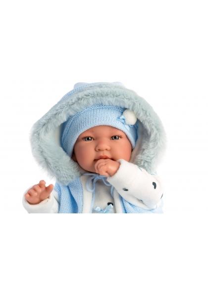 Barboteuse Bleu Tino Avec Capuche 44 Cm
