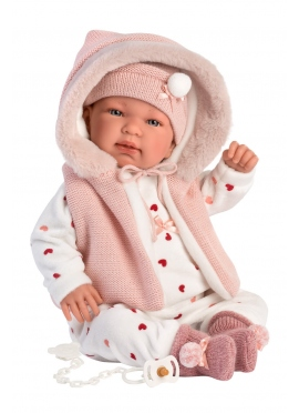Tina Pink Romper With Hood 44 Cm