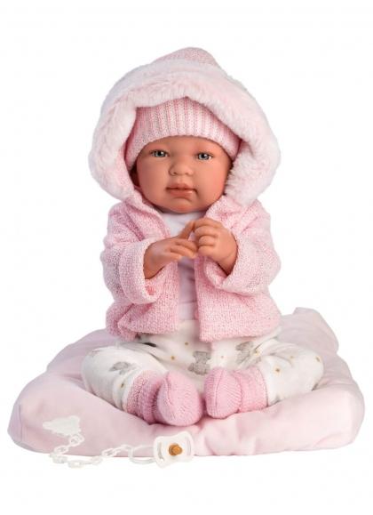 Tina Rosa Con Cojin 44 Cm Muñecas Llorens Recién Nacidos que lloran 84446