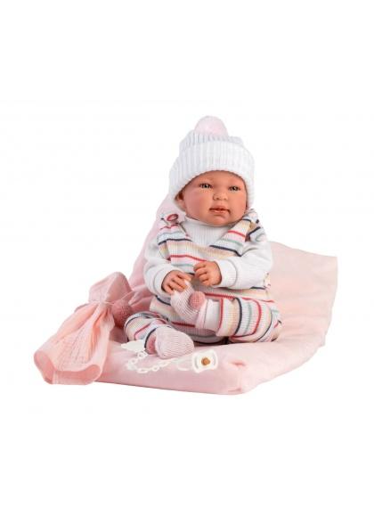 Rayé Tina Avec Coussin 44 Cm Crying Newborn Llorens Dolls 84448