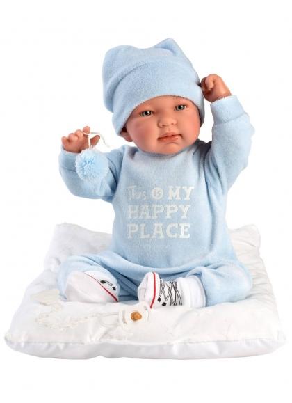 Tino Blue Romper With Cushion 44 Cm Newborn Llorens Dolls that cry 84453
