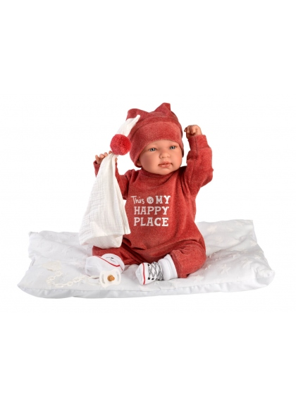 Tina Burgundy Romper With Cushion 44 Cm Newborn Llorens Dolls that cry 84454