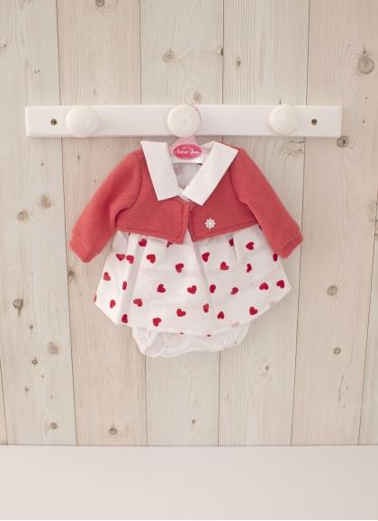 Ropa para muñecas de 42 cm - Vestido Corazones con Chaqueta Roja