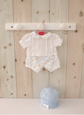 Polka Dot Jumpsuit with Shirt - Clothes for 42 cm dolls