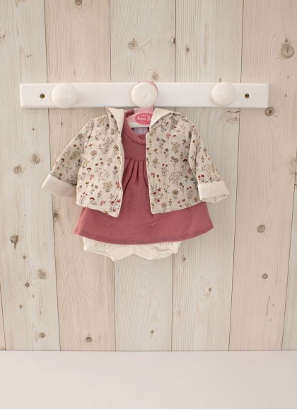 Outfit for 42 cm dolls - Hearts Dress with Red Jacket