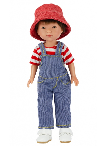 Albert With Denim Dungarees and Striped T-shirt 28 cm