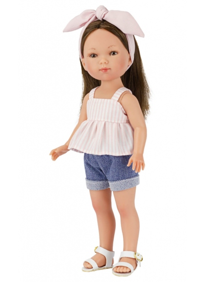 Carlota With Striped Blouse And Short Jeans 28 cm