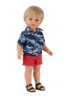 David Con Jeans Corto Rojo y Camisa Camuflaje Azul 45 cm