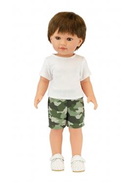 Mateo Con Pantalon Corto Camuflaje Y Camiseta Blanca 45 cm