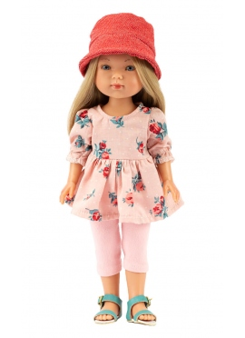 Carlota With Pink Jeans and Flowers Dress 28 cm