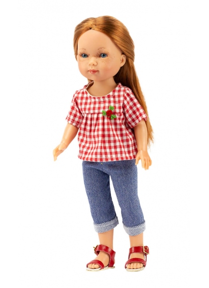 Carlota Fishing Jeans And Red Gingham Blouse 28 cm