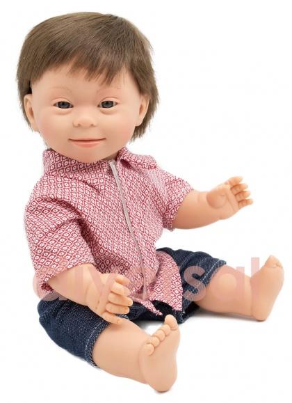 Niño Moreno Europeo Sindrome Down 40 cm