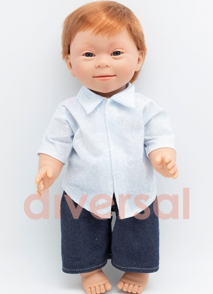 Niño Pelirrojo Europeo Sindrome Down 40 cm