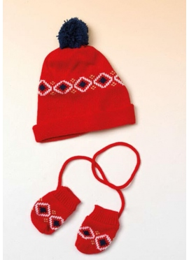 Set of Hat and Gloves Red