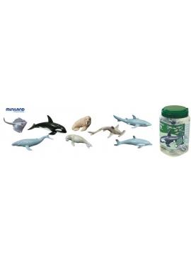 Meerestiere - 8 Figuren im Topf mit Griff