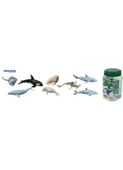 Juguetes Juego Educativo Figuras Animales Miniland Animales Marinos - 8 Figuras en Bote con Asa