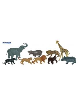 Les Animaux De La Jungle. 9 Figures dans le Pot avec la Poignée