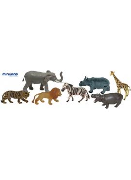 Животные джунглей - 7 фигурок в лодке с ручкой