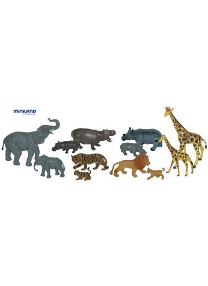 Animales Salvajes con Bebés - 12 Figuras en Bote con Asa