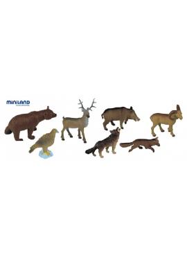 Tiere des Waldes - 8 Figuren im Topf mit Griff