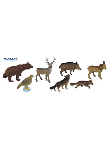 Лесные животные - 8 фигурок в лодке с ручкой