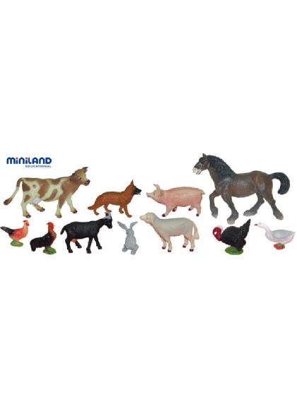 Tiere auf dem Bauernhof - 11 Figuren im Topf mit Griff