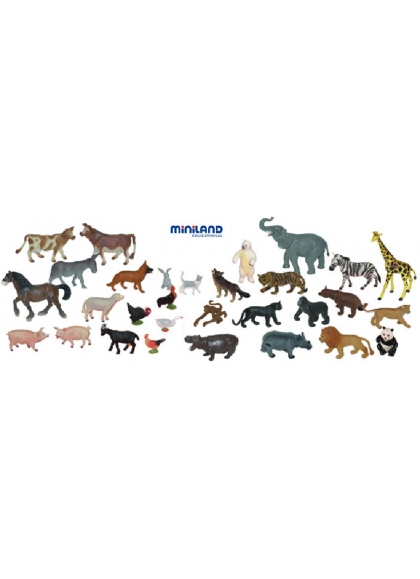 Ферма и дикие животные - 30 фигурок в контейнере