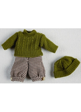 MINI SET WITH A SWEATER AND BEANIE GREEN
