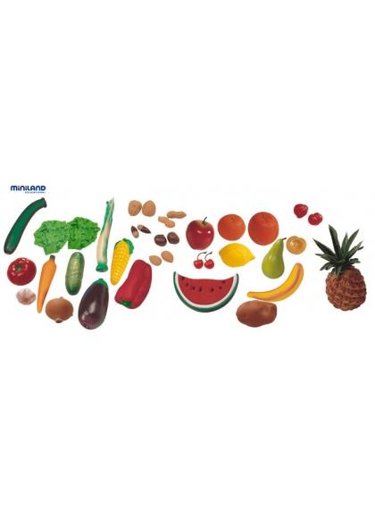 Assortimento di Frutta, Verdura e Noci, 36 pcs in un Contenitore