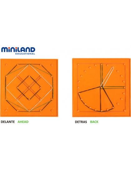 Set 6 Geoplanos 15 cm 6 Colores-2 Caras + 180 Gomas + 24 Actividades