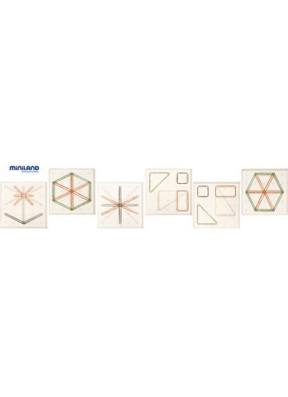 Set 6 Geoplanos 15 cm Transparentes + 180 Gomas + 24 Actividades