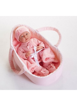 LA NEWBORN PINK DRESS WITH BLANKET AND CRADLE