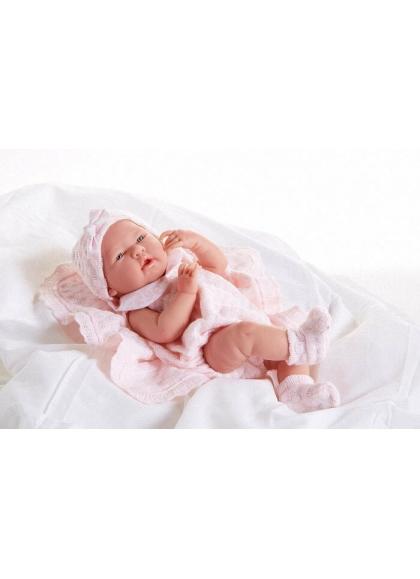 Muñecas Berenguer Boutique la Newborn LA NEWBORN VESTIDO ROSA CON GORRA Y MANTITA
