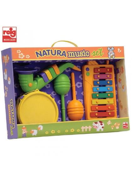 Set Xilofón, Tambor, Saxofón y Maracas (Materiales Ecológicos)