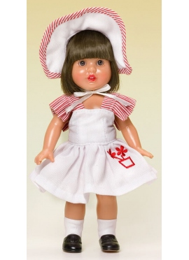 MINI LADYBUG PEREZ WITH DRESS AND BONNET WHITE