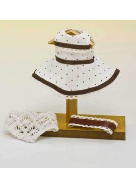 MINI BEIGE DRESS WITH BROWN POLKA DOTS
