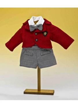 Pantalon black checkered and red jacket